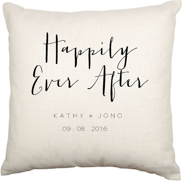 Personalised Couples Cushion Cover (Happily Ever After - Charlie design)