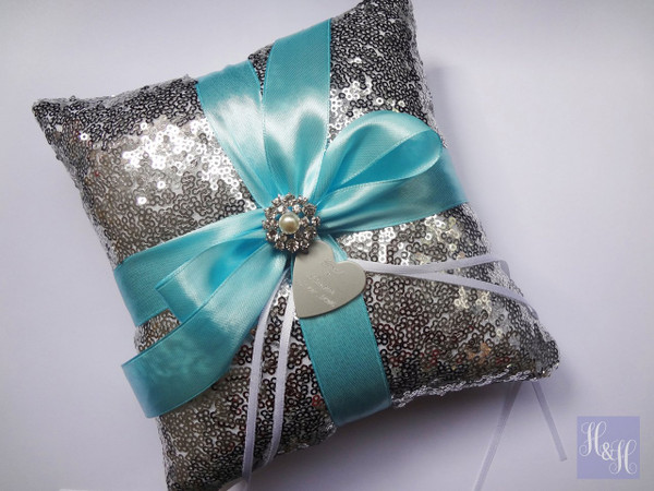 Personalised Ring Pillow (gold sequin) - Tristina design