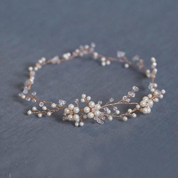 Handmade Bridal Hair Vine in Gold - Isabella