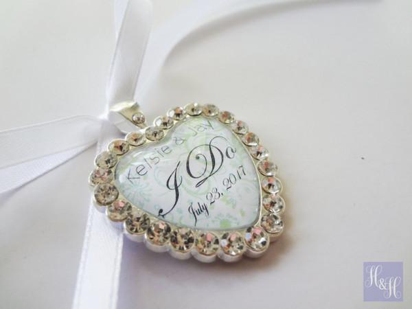 Bouquet Charm (Heart) w/ Rhinestones- Misela Design