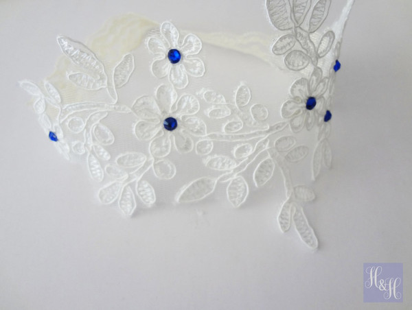 Elegant White/Ivory garter - something blue - Kiah design