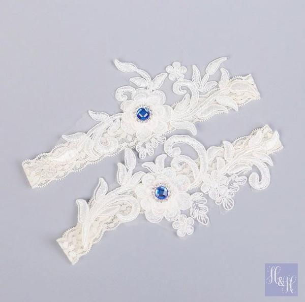 Elegant White/Ivory garter set,w/ blue crystals - Kelly design