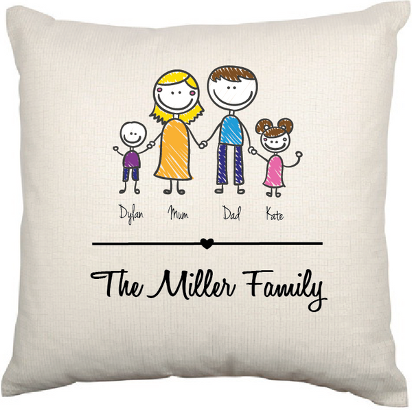 Personalised Cushion Cover (Family Stick Figure)