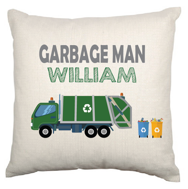 Personalised Nursery Cushion Cover (Garbage Truck)
