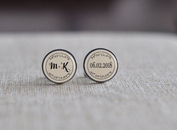 Personalised Directions Cuff Links - Stainless Steel