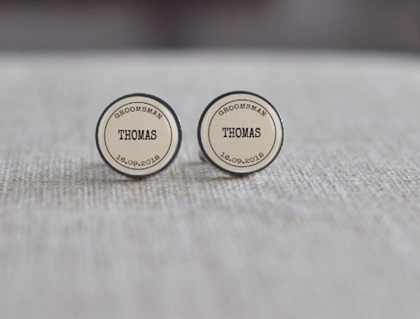 Personalised Grooms/Father Cuff Links - Stainless Steel