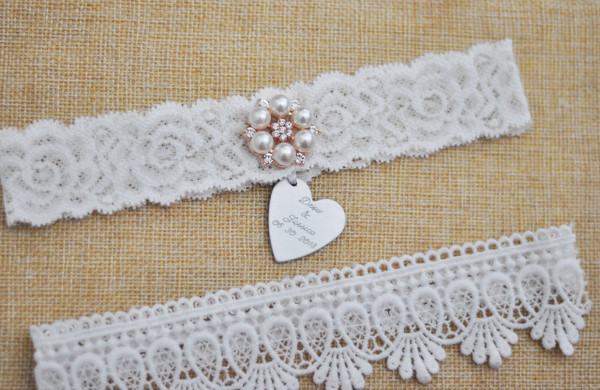 Elegant White garter set - The Priscilla