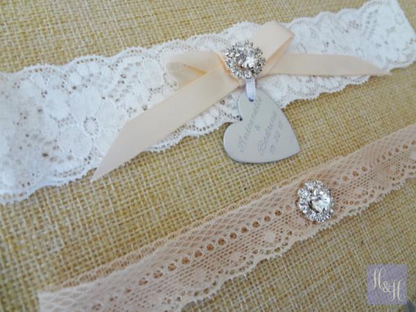 Elegant Blush Pink on White garter set - The Peta