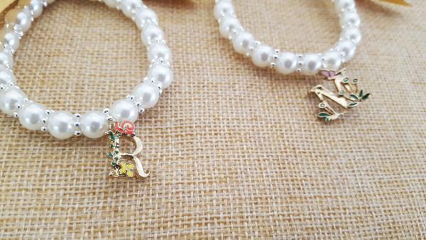 Pearl Girls Initial Bracelet
