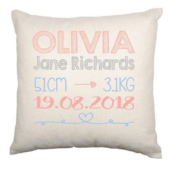 Personalised Nursery Cushion Cover (Olivia design)