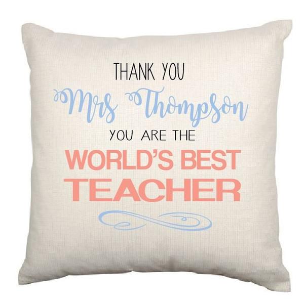 Personalised Best Teacher Cushion Cover (Appleberry design)