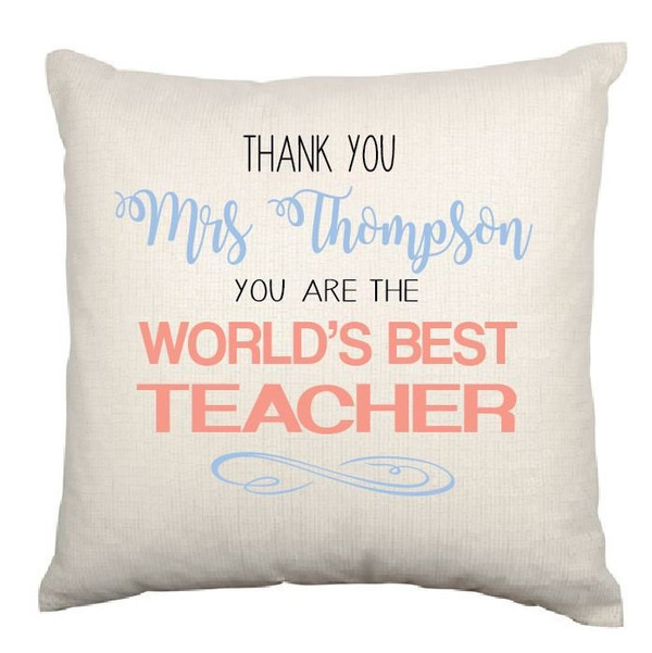 Personalised Best Teacher Cushion Cover (Appleberry design)