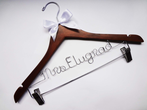 Walnut clips hanger with White bow