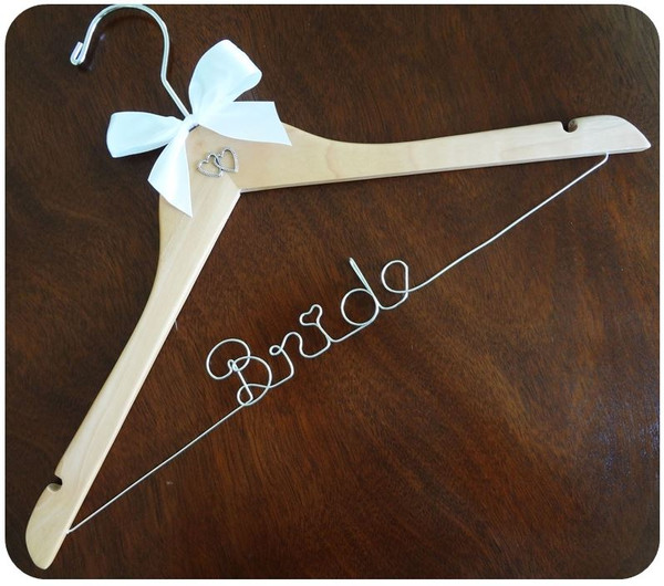 Personalised Adult hanger with Double Heart with White bow