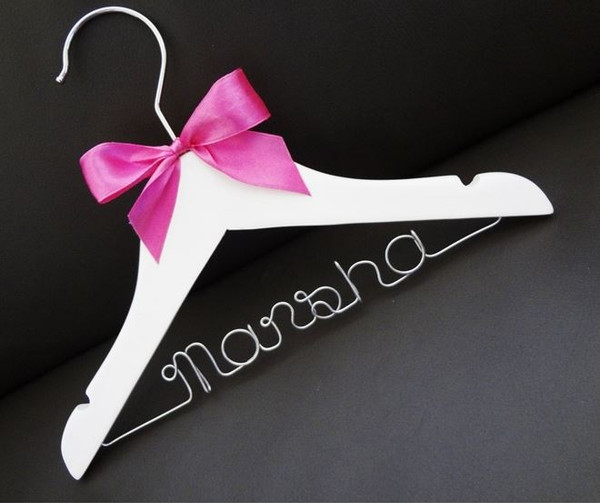 Personalised Child White Hanger with light pink bow