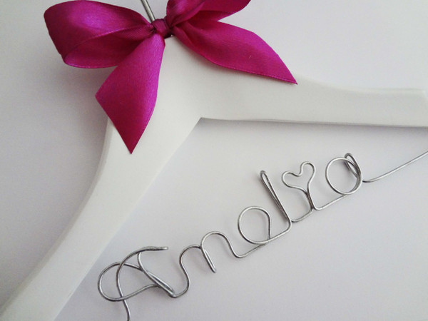 Personalised Child White Hanger with hot pink bow