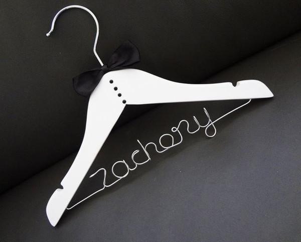 Personalised Child Tuxedo Hanger with Black bow