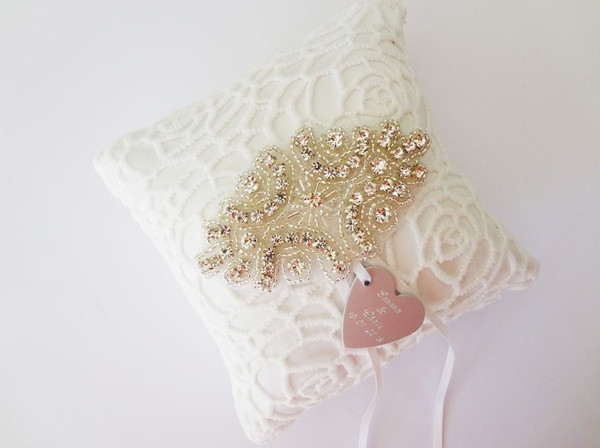 White Lace Ring Pillow with Personalised Heart Charm