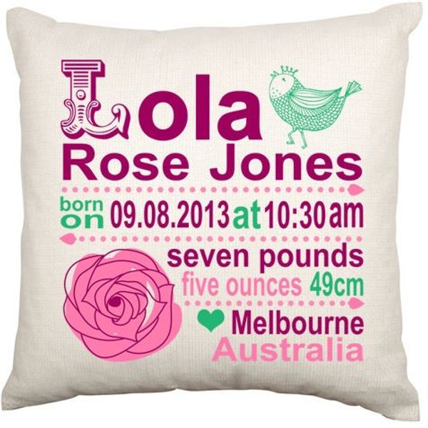 Personalised Baby Cushion Cover (Rose)