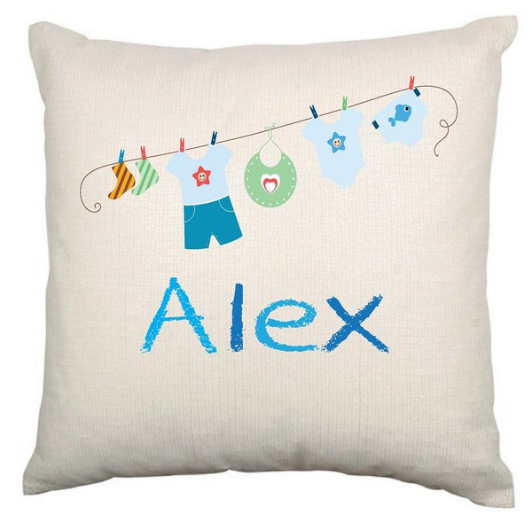 Personalised Baby Cushion Cover (Clothes line)