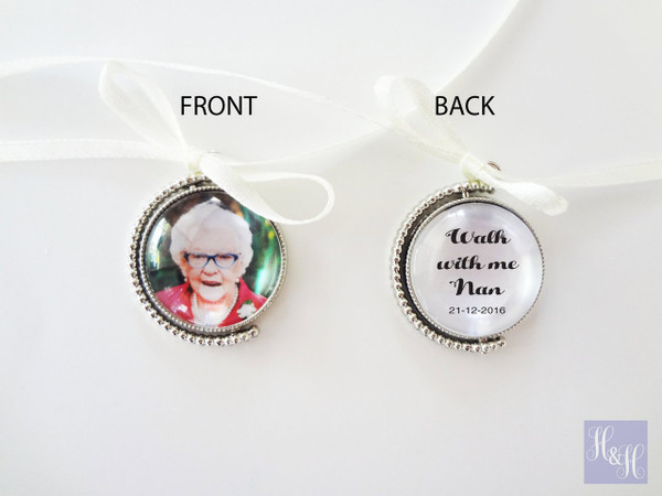 Double Sided Round Bouquet Photo Charm - Charlie Design