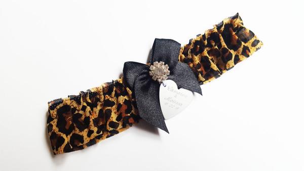 Personalised Garter - Leopard Print