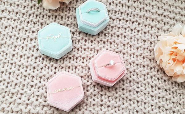 Hexagon Velvet Ring Box (Rosie Design)