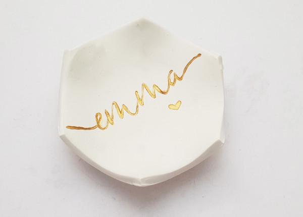 Hexagon Ring Dish (Gold Evie Design)