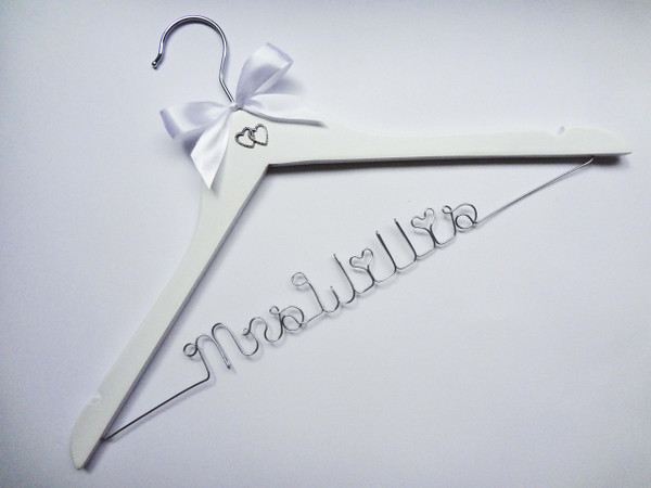 White hanger with White Bow and Double Heart Charm