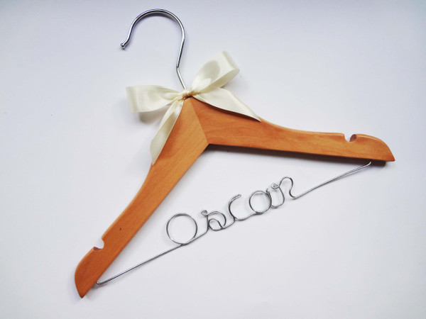 Personalised Child White Hanger with ivory bow