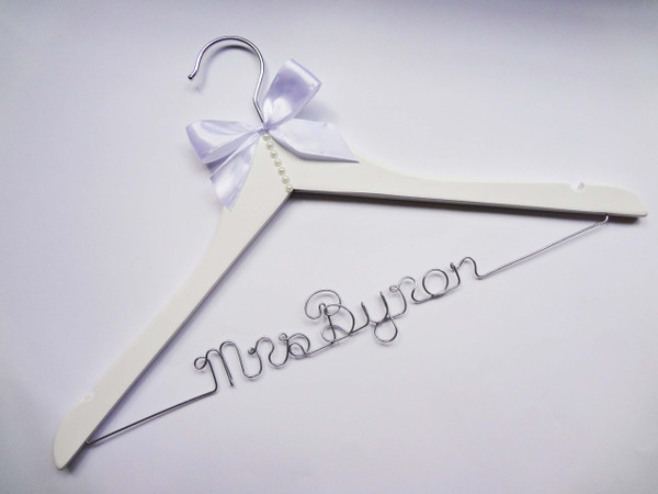 Personalised Adult hanger with Pearl Detail with White bow