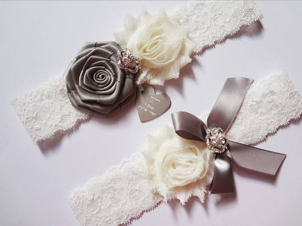Personalised Elegant Vintage Ivory Gray Lace Garter Set