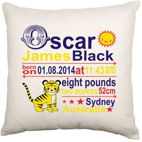 Personalised Baby Cushion Cover (Tiger)