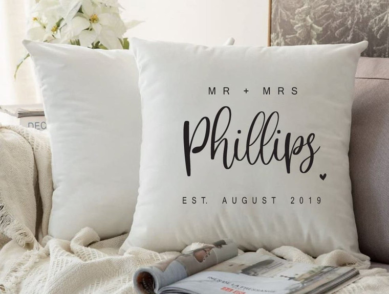 Personalised Couples Cushion Cover (Ava Design)