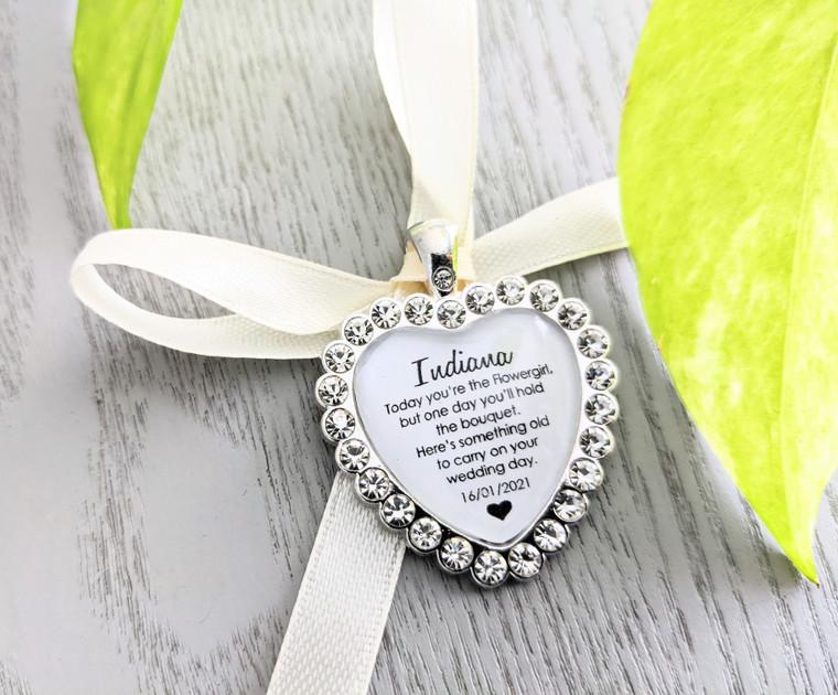 Bouquet Charm (Heart) - Rhinestone Crystal