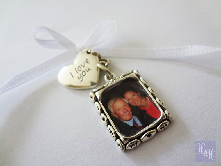 Wedding Bouquet Memory Charm w/ I love you charm