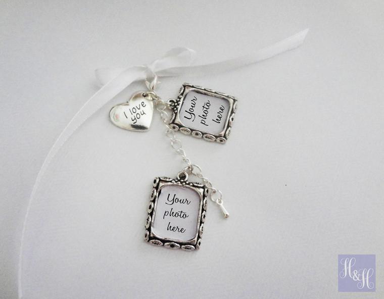 Double DIY Wedding Bouquet Photo Memory Charms w/ I love you charm