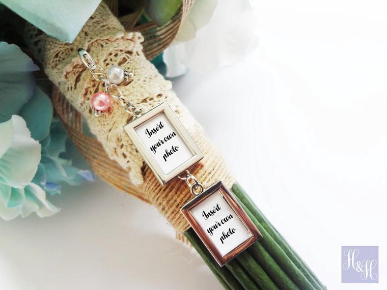 Bouquet Charm - DIY Double Blank w/ pearls- Dahlia Design