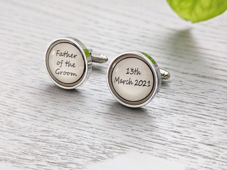 Personalised Father of the Bride/Groom Cuff Links - Stainless Steel