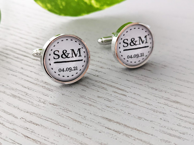 Personalised Initial Cuff Links - Stainless Steel - Adam Design