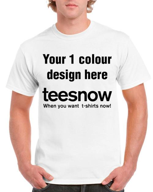 White t-shirt, 1 colour custom printing front