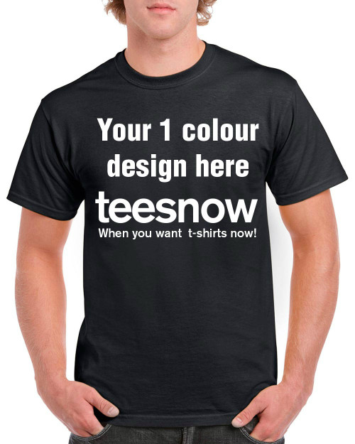 Black t-shirt with 1 colour custom printing on front