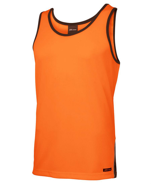 Hi Vis Contrast Singlet. Angled view. Orange/Navy.