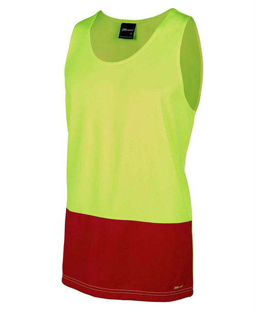 Hi Vis Traditional Singlet 6HTS. Angled view. Lime/Red.