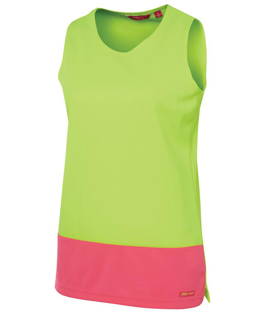 Ladies Hi Vis Traditional Singlet 6HTS1. Angled view. Lime/Pink.