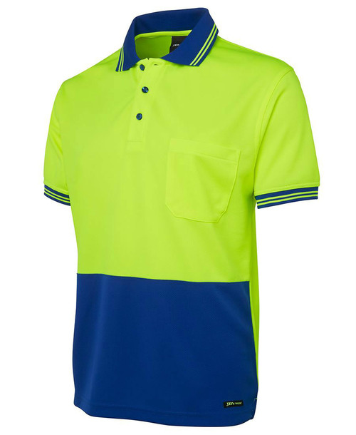 Hi Vis S/S Traditional Polo 6HVPS. Angled View. Lime/Royal.