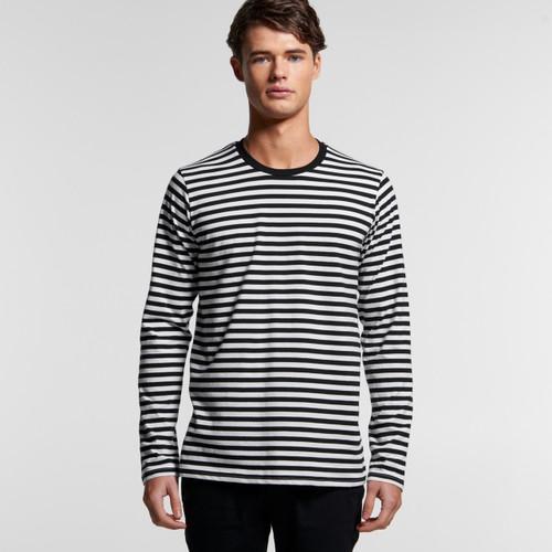 Ascolour Mens Match Stripe L/S Tee - 5031 Front