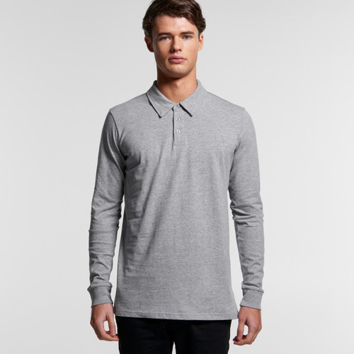 Ascolour Mens Chad L/S Polo - 5404 Front
