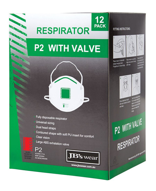 P2 RESPIRATOR WITH VALVE (12PACK)