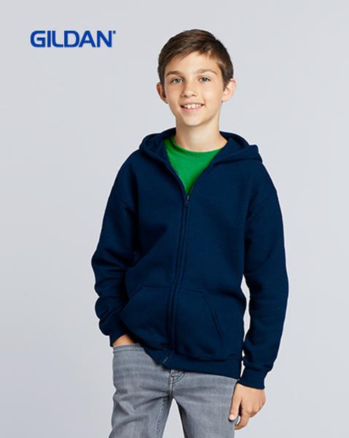 Gildan Youth Zip Hooded Sweatshirt (18600B) Front